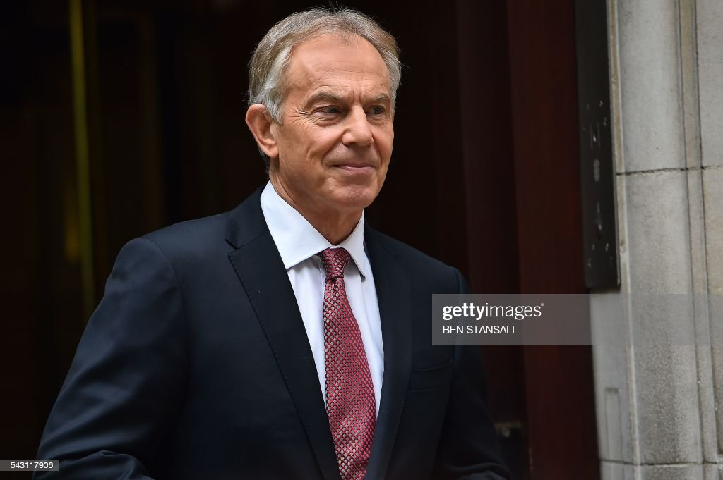 Former British Prime Minister and former Leader of the opposition Labour Party, Tony Blair leaves Millbank television and radio studios in central London on June 26, 2016. The future of opposition Labour leader Jeremy Corbyn looked shaky on Sunday after two members of his top team quit and others seemed set to follow over his handling of Britain's EU referendum. Corbyn sacked his foreign affairs spokesman, Hilary Benn, late Saturday after Benn said he no longer had confidence in his leadership, while health spokeswoman Heidi Alexander announced her resignation on Twitter Sunday. / AFP / BEN