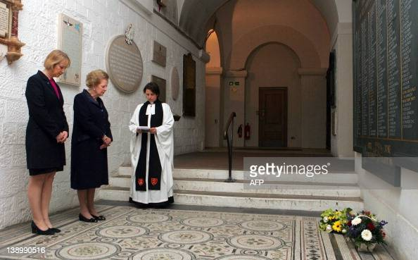 Former British Prime Minister Baroness Margaret Thatcher and Falkland Island Representative in Britain Sukie Cameron listen to a short service by...