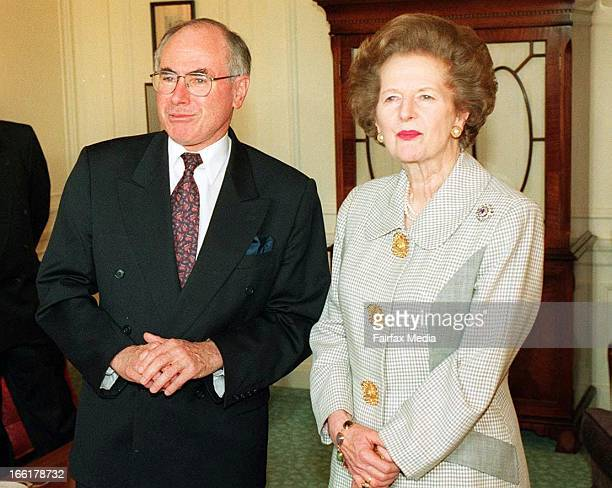 Former British Prime Minister Baroness Margaret Thatcher meets with Australian Prime Minister John Howard at the Savoy Hotel on June 23 1997 in...