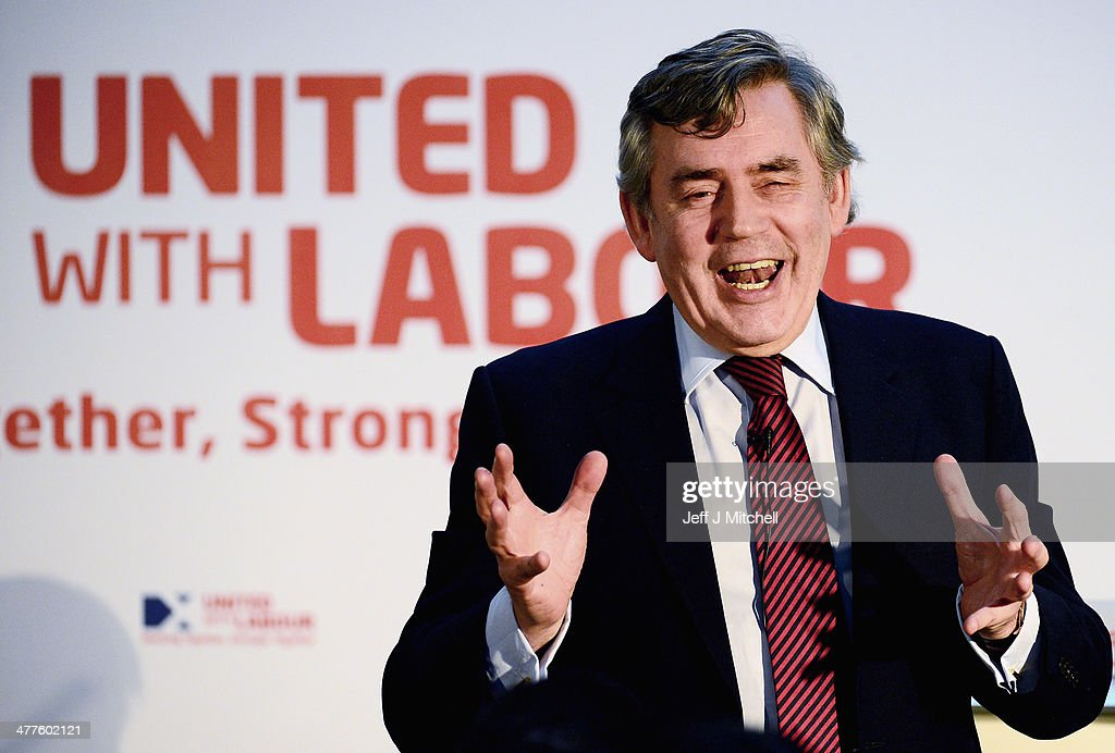 Former British Prime Minister, <a gi-track='captionPersonalityLinkClicked' href=/galleries/search?phrase=Gordon+Brown&family=editorial&specificpeople=158992 ng-click='$event.stopPropagation()'>Gordon Brown</a>, addresses activists at St Josephs on March 10, 2014 in Glasgow, Scotland. In his speech ahead of September's referendum Mr Brown outlined plans that would see further devolution for Scotland and new power sharing between the Scottish and UK parliaments.