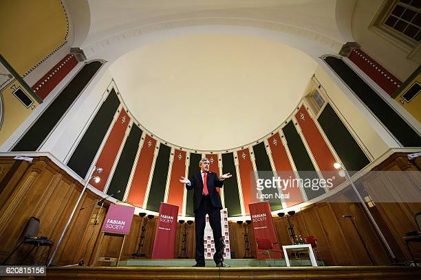 Former British Prime Minister Gordon Brown addresses guests on the issues surrounding Brexit at a Fabian Society event on November 3 2016 in...