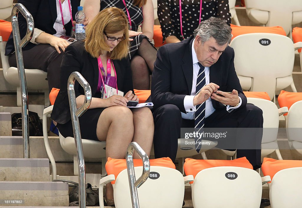 Former British Prime Minister Gordon Brown and his wife Sarah Brown attend the evening session on day 5 of the London 2012 Paralympic Games at Aquatics Centre on September 3, 2012 in London, England.