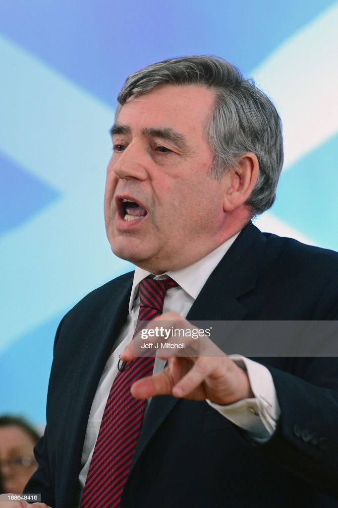 Former British Prime Minister <a gi-track='captionPersonalityLinkClicked' href=/galleries/search?phrase=Gordon+Brown&family=editorial&specificpeople=158992 ng-click='$event.stopPropagation()'>Gordon Brown</a> speaks at the Scottish Labour launch to keep Scotland as part of the UK on May 13, 2013 in Glasgow, Scotland. The party launched its 'United with Labour' campaign today which it says offers the people of Scotland a ''different view ''on the country's future.