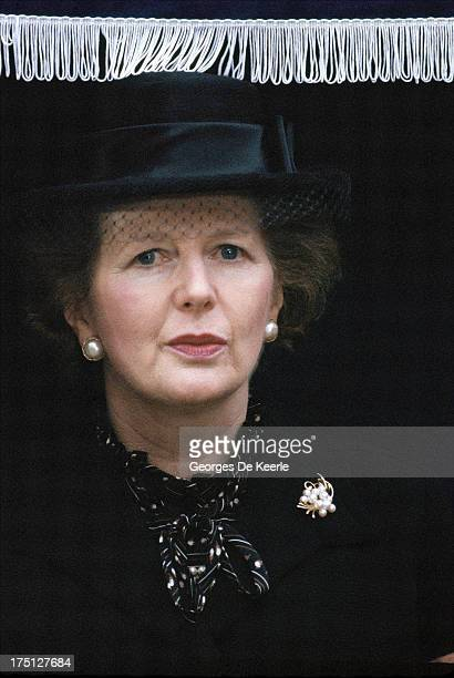 Former British Prime Minister Margaret Thatcher attends the unveiling of WPC Yvonne Fletcher's memorial who was shot dead on April 17 1984 by...