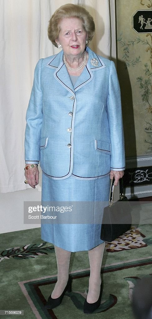 Former British Prime Minister <a gi-track='captionPersonalityLinkClicked' href=/galleries/search?phrase=Margaret+Thatcher&family=editorial&specificpeople=159677 ng-click='$event.stopPropagation()'>Margaret Thatcher</a> poses on August 1, 2006 in London, England. The portrait of Lady Thatcher, constructed from silk chiffon on rusted iron is by award-winning young designer Benjamin Shine.