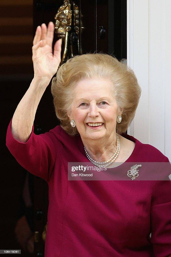 Former British Prime Minister, <a gi-track='captionPersonalityLinkClicked' href=/galleries/search?phrase=Margaret+Thatcher&family=editorial&specificpeople=159677 ng-click='$event.stopPropagation()'>Margaret Thatcher</a> waves to the press at her home after leaving Cromwell Hospital on November 1, 2010 in London, England. Baroness Thatcher was admitted to hospital 12 days ago after contracting flu, she missed a party at Downing Street on October 14, 2010 to celebrate her 85th birthday because of her illness.