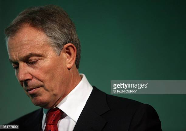 Former British Prime Minister Tony Blair addresses delegates during the Sierra Leone Trade and Investment Forum in central London on November 18 2009...