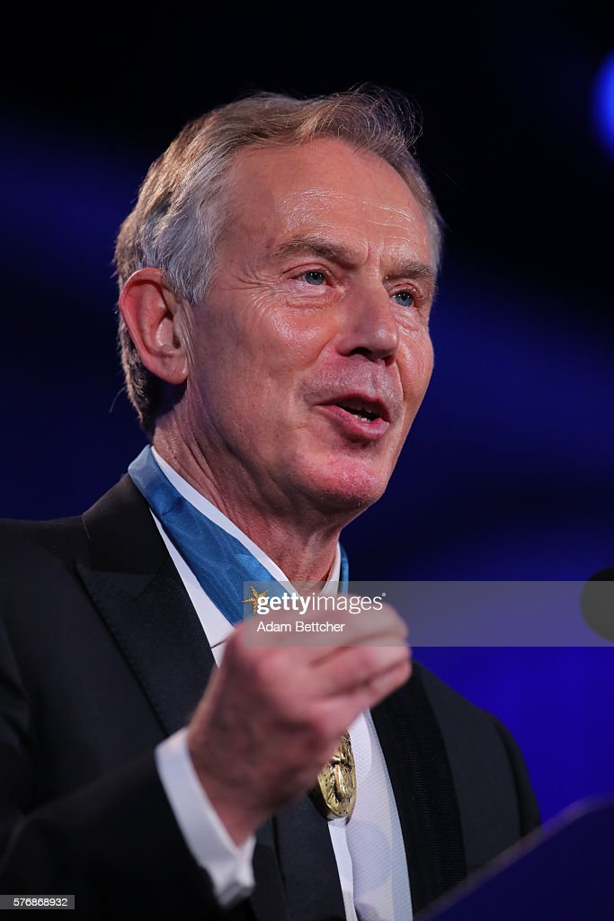 Former British Prime Minister Tony Blair at the 2016 Starkey Hearing Foundation 'So the World May Hear' awards gala at the St Paul RiverCentre on...