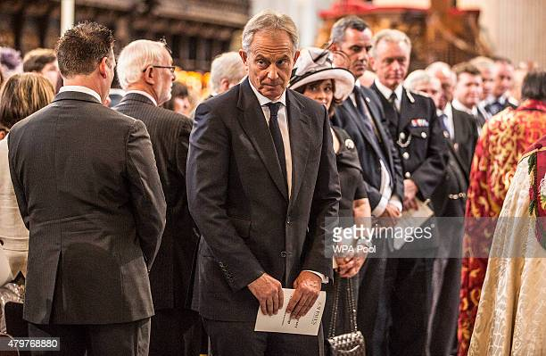 Former British Prime Minister Tony Blair attends the service to commemorate the tenth anniversary of the London 7/7 bombings at St Pauls Cathedral on...