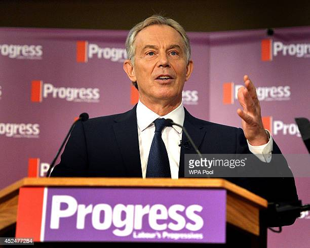 Former British Prime Minister Tony Blair delivers Progress' inaugural annual Philip Gould Lecture on July 21 2014 in London England The former prime...