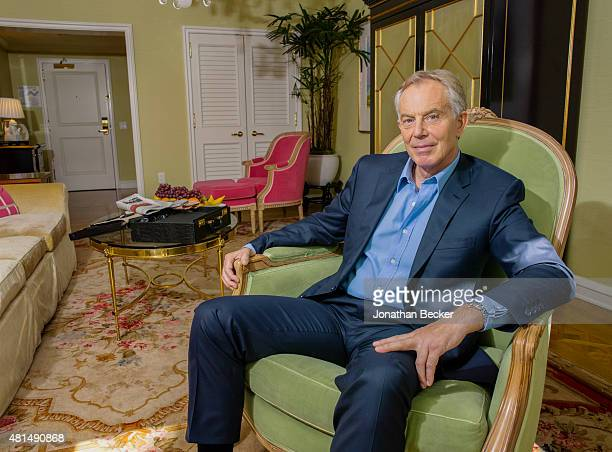 Former British Prime Minister Tony Blair is photographed for Vanity Fair Magazine on October 20 2014 at the Peninsula Hotel in Los Angeles California