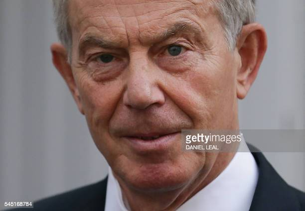 Former British Prime Minister Tony Blair leaves his home in London on July 6 2016 The official inquiry into Britain's role in the Iraq war finally...