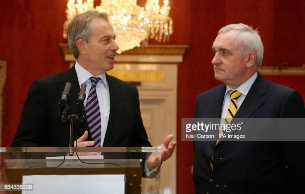 Former British Prime Minister Tony Blair left with outgoing Irish premier Bertie Ahern right during a meeting at Dublin Castle which forms part of a...