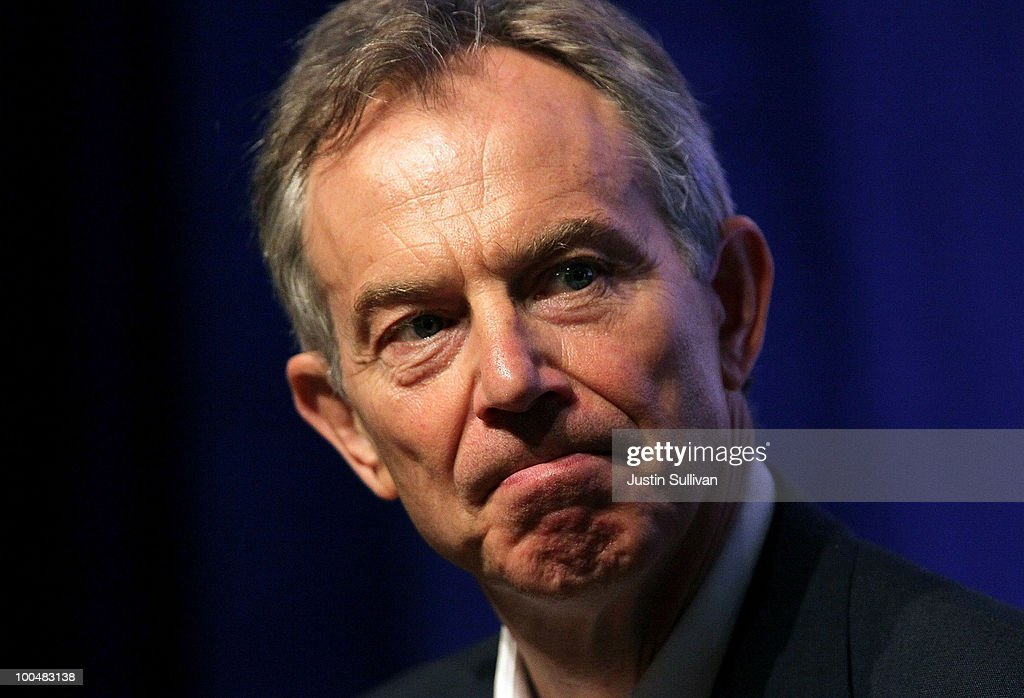 Former British Prime Minister <a gi-track='captionPersonalityLinkClicked' href=/galleries/search?phrase=Tony+Blair&family=editorial&specificpeople=118622 ng-click='$event.stopPropagation()'>Tony Blair</a> pauses as he speaks during the Khosla Ventures Cleantech Discussion May 24, 2010 in Sausalito, California. Khosla Ventures founder Vinod Khosla announced today that <a gi-track='captionPersonalityLinkClicked' href=/galleries/search?phrase=Tony+Blair&family=editorial&specificpeople=118622 ng-click='$event.stopPropagation()'>Tony Blair</a> Associates will serve as special advisors to Khosla Ventures to advocate for environmental issues and use their global relationships to assist Khosla's broad portfolio of clean technology companies maximize their effectiveness in achieving their environmental goals.