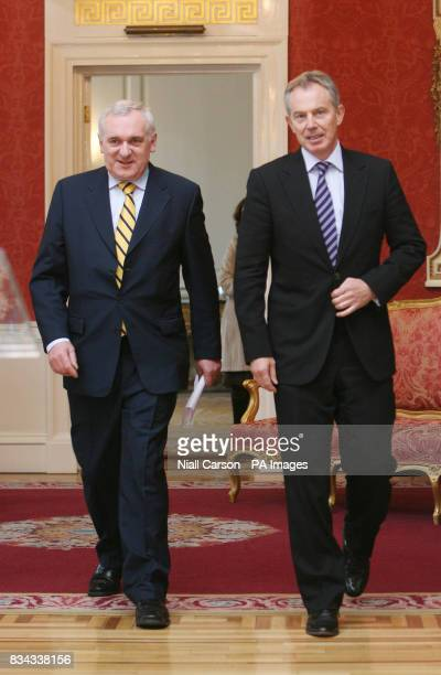 Former British Prime Minister Tony Blair right with outgoing Irish premier Bertie Ahern left during a meeting at Dublin Castle which forms part of a...