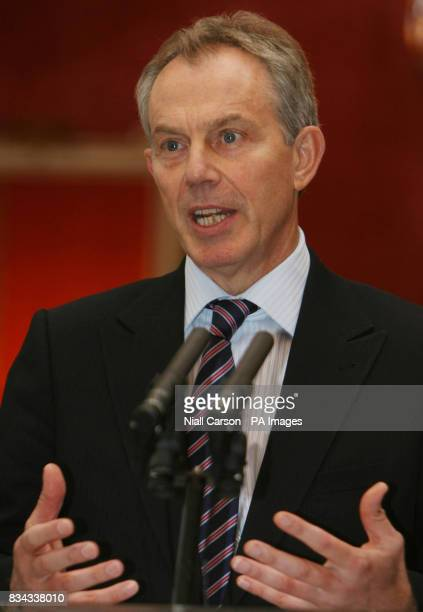 Former British Prime Minister Tony Blair speaking during a meeting at Dublin Castle which forms part of a series of events to mark the 10th...