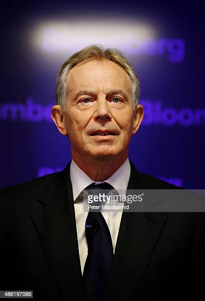 Former British Prime Minister Tony Blair speaks at Bloomberg on April 23 2014 in London England In his speech to financial workers Mr Blair warned of...