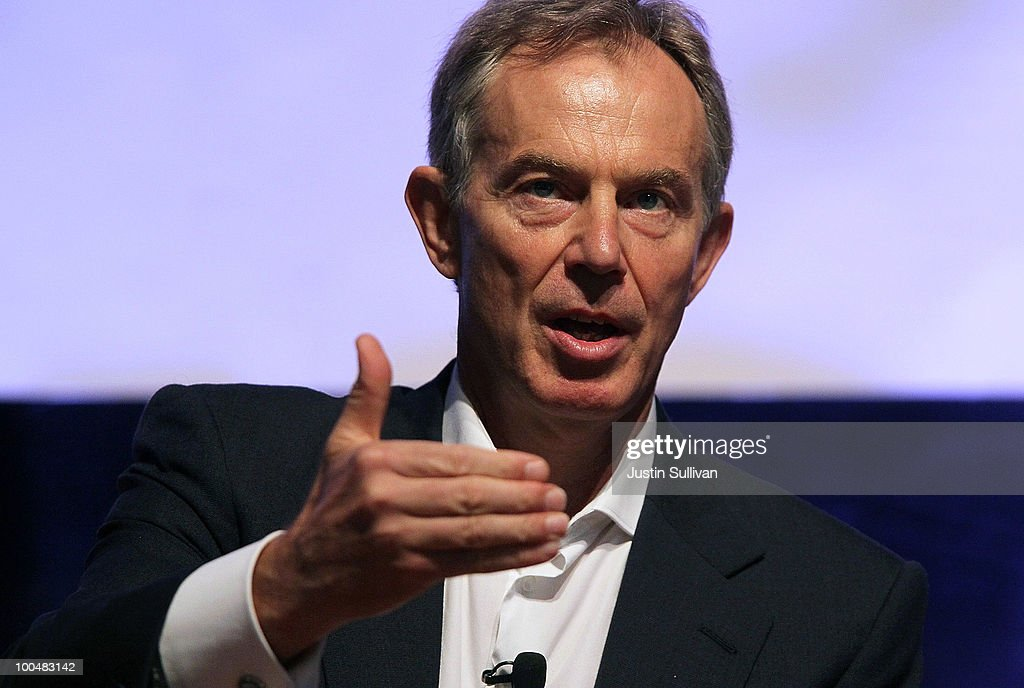 Former British Prime Minister <a gi-track='captionPersonalityLinkClicked' href=/galleries/search?phrase=Tony+Blair&family=editorial&specificpeople=118622 ng-click='$event.stopPropagation()'>Tony Blair</a> speaks during the Khosla Ventures Cleantech Discussion May 24, 2010 in Sausalito, California. Khosla Ventures founder Vinod Khosla announced today that <a gi-track='captionPersonalityLinkClicked' href=/galleries/search?phrase=Tony+Blair&family=editorial&specificpeople=118622 ng-click='$event.stopPropagation()'>Tony Blair</a> Associates will serve as special advisors to Khosla Ventures to advocate for environmental issues and use their global relationships to assist Khosla's broad portfolio of clean technology companies maximize their effectiveness in achieving their environmental goals.