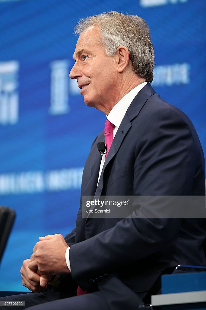 Former British Prime Minister <a gi-track='captionPersonalityLinkClicked' href=/galleries/search?phrase=Tony+Blair&family=editorial&specificpeople=118622 ng-click='$event.stopPropagation()'>Tony Blair</a> speaks onstage at the 2016 Milken Institute Global Conference on May 03, 2016 in Beverly Hills, California.