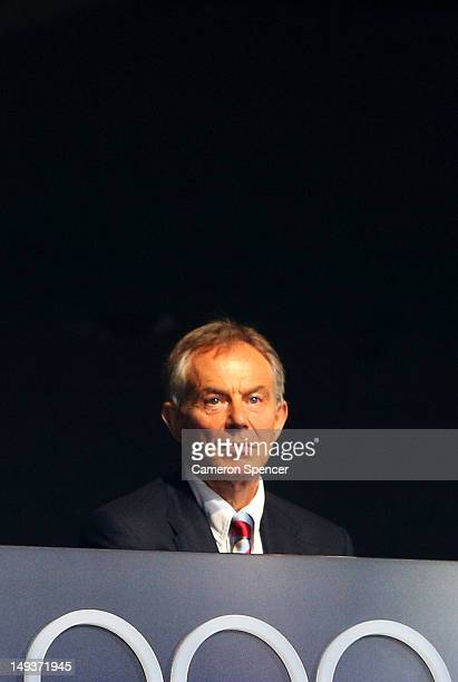 Former British Prime Minister Tony Blair watches the Opening Ceremony of the London 2012 Olympic Games at the Olympic Stadium on July 27 2012 in...