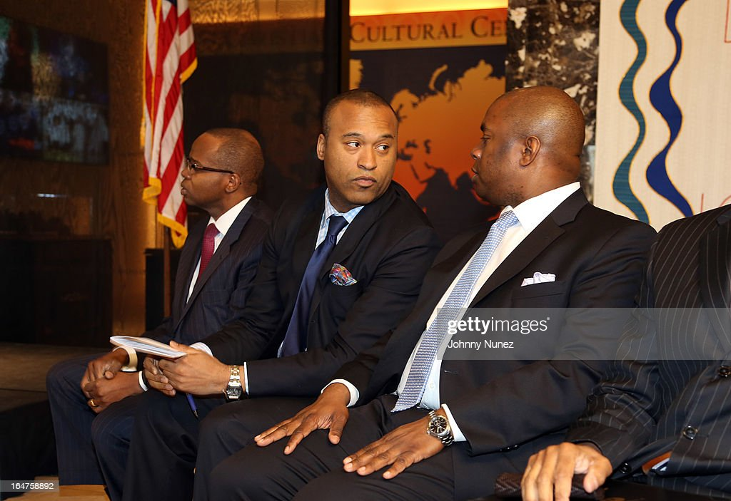 Former Brooklyn Federal Prosecutor Ken Thompson, entertainment attorney L. Londell McMillan, and President and Chief Executive Officer of The Children's Aid Society, Richard R. Buery, Jr. attend the Guns 4 Greatness Press Conference at Christian Cultural Center on March 27, 2013, in the Brooklyn borough of New York City.