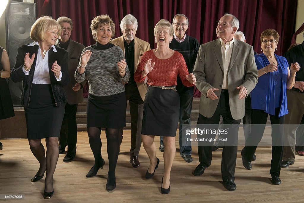 Former Buddy Deane Show dancers demonstrate the Madeline dance at the Mobtown Ballroom in Baltimore, Maryland on January 09, 2013. from LEFT TO RIGHT, Shirley Joyce, John and Concetta Sankonis, Bill Bertazon, Anne Boyer Tempera, Charlie LoPresto, Rich Tempera and Vicki Defeo. SUNDAY ARTS 1/20: