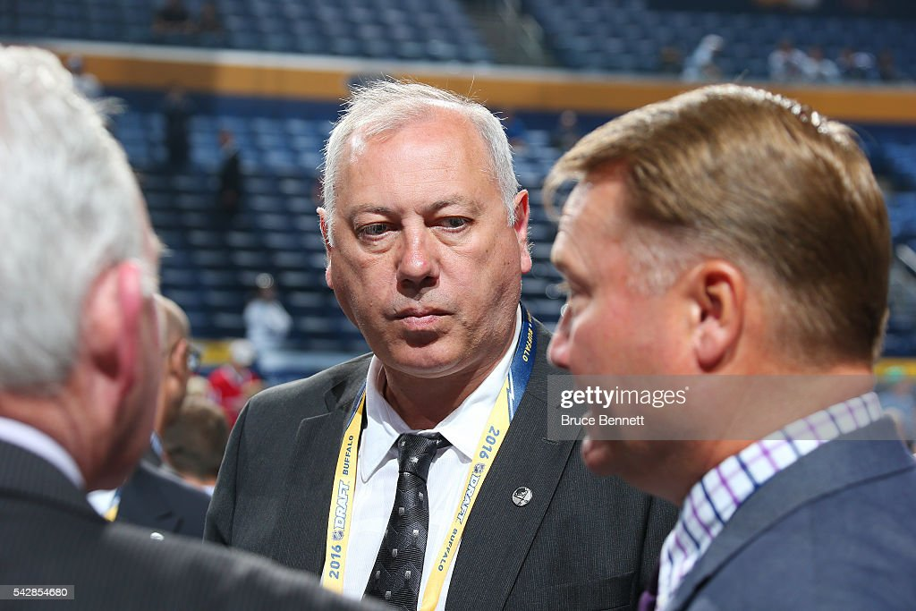 Former Buffalo Sabres player Yuri Khmylev attends round one of the 2016 NHL Draft on June 24, 2016 in Buffalo, New York.