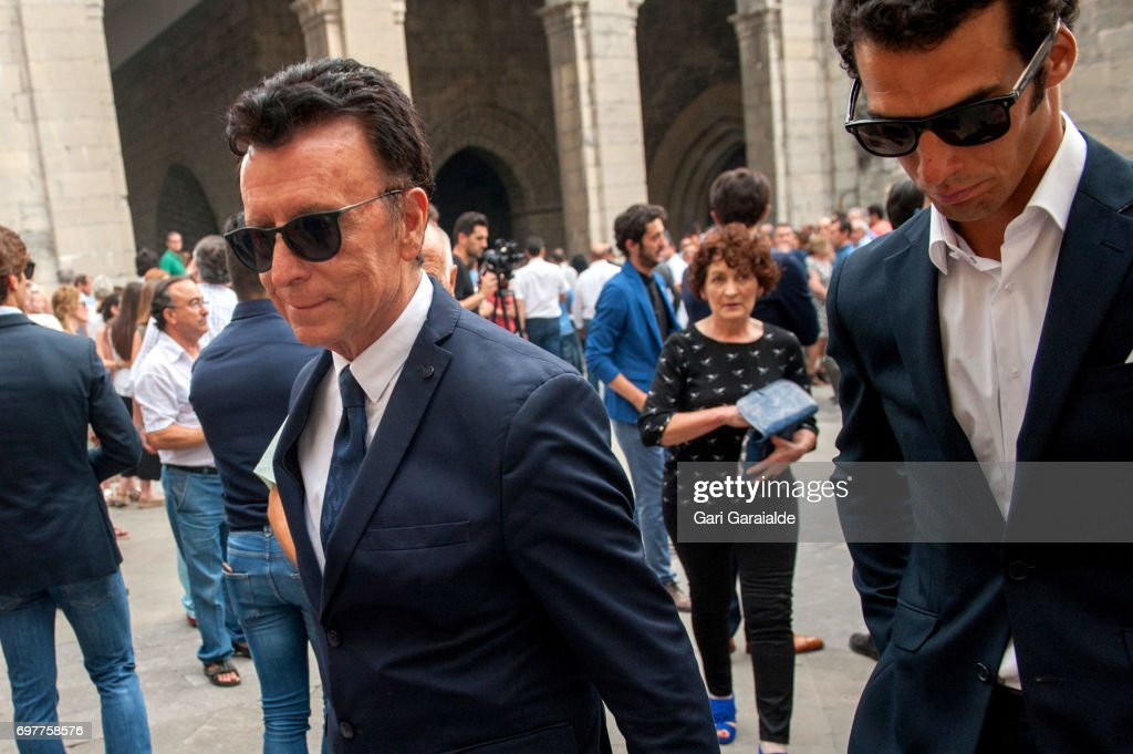 Former Bullfighter Ortega Cano (L) attends the funeral of bullfighter Ivan Fandino on June 19, 2017 in Orduna, Spain.
