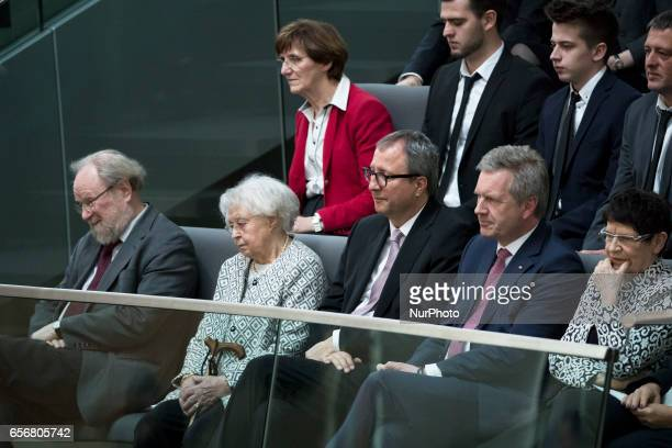 Former Bundestag President Wolfgang Thierse the mother of the new German President Ursula Steinmeier President of the Constitutional Court Andreas...