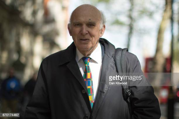 Former business secretary Sir Vince Cable walks through Westminster on April 19 2017 in London England British Prime Minister Theresa May will go to...