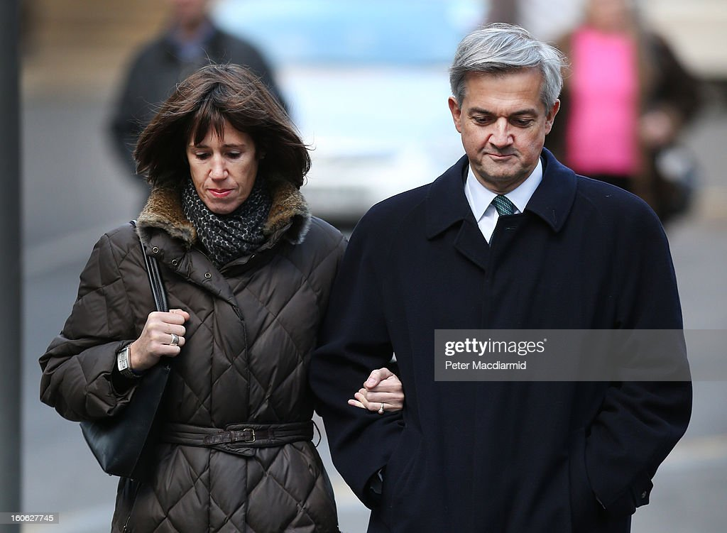 Former Cabinet Minister <a gi-track='captionPersonalityLinkClicked' href=/galleries/search?phrase=Chris+Huhne&family=editorial&specificpeople=555564 ng-click='$event.stopPropagation()'>Chris Huhne</a> arrives at Southwark Crown Court with Carina Trimingham on February 4, 2013 in London, England. Huhne, 58, and his ex-wife Vicky Pryce are on trial over allegations that Pryce, 60, took penalty points on her driving licence in 2003 so that he could avoid prosecution.