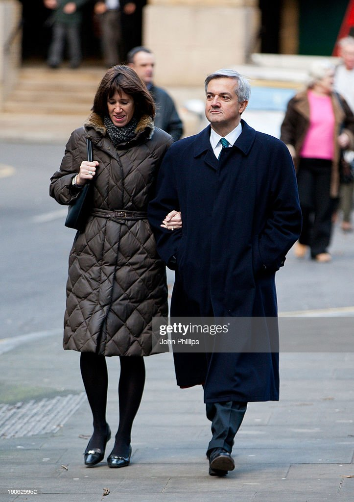 Former Cabinet Minister <a gi-track='captionPersonalityLinkClicked' href=/galleries/search?phrase=Chris+Huhne&family=editorial&specificpeople=555564 ng-click='$event.stopPropagation()'>Chris Huhne</a> arrives at Southwark Crown Court with Carina Trimingham on February 4, 2013 in London, England. Former Cabinet member <a gi-track='captionPersonalityLinkClicked' href=/galleries/search?phrase=Chris+Huhne&family=editorial&specificpeople=555564 ng-click='$event.stopPropagation()'>Chris Huhne</a>, 58, and his ex-wife Vicky Pryce are on trial over allegations that Pryce, 60, took penalty points on her driving licence in 2003 so that he could avoid prosecution.