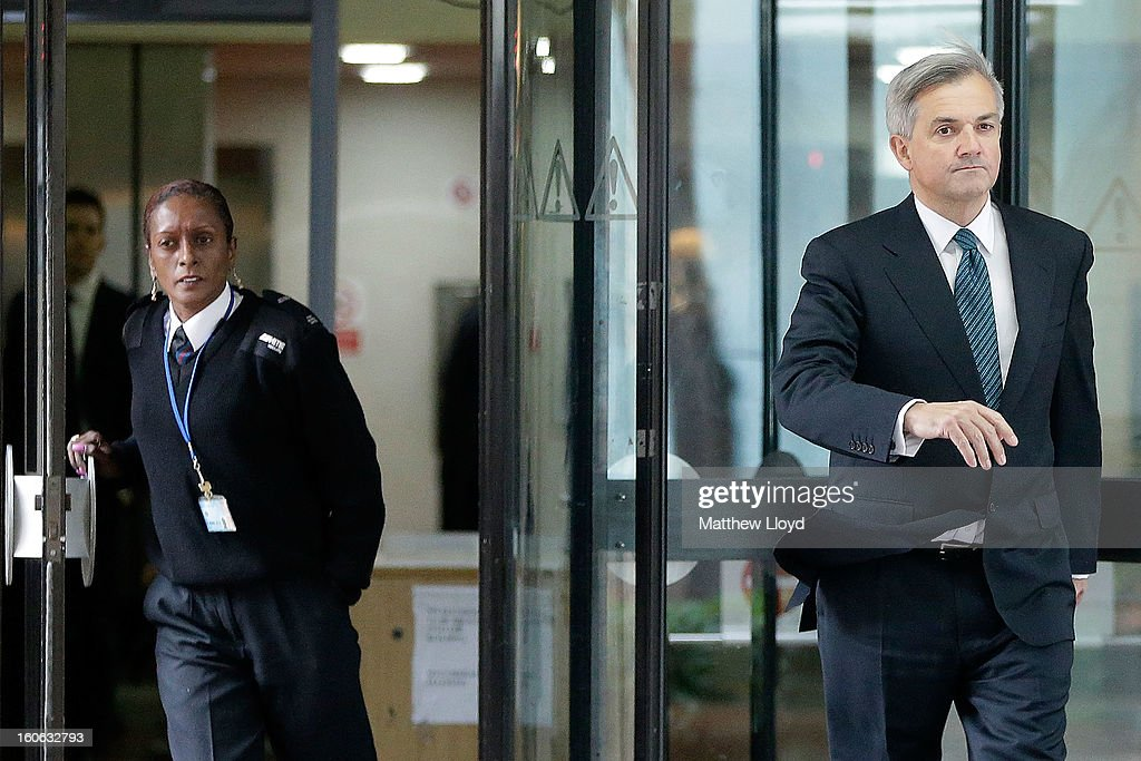 Former Cabinet Minister Chris Huhne leaves Southwark Crown Court to make a statement to the press on February 4, 2013 in London, England. Huhne, 58, and his ex-wife Vicky Pryce are on trial over allegations that Pryce, 60, took penalty points on her driving licence in 2003 so that he could avoid prosecution. Chris Huhne pleaded guilty to perverting the course of justice.