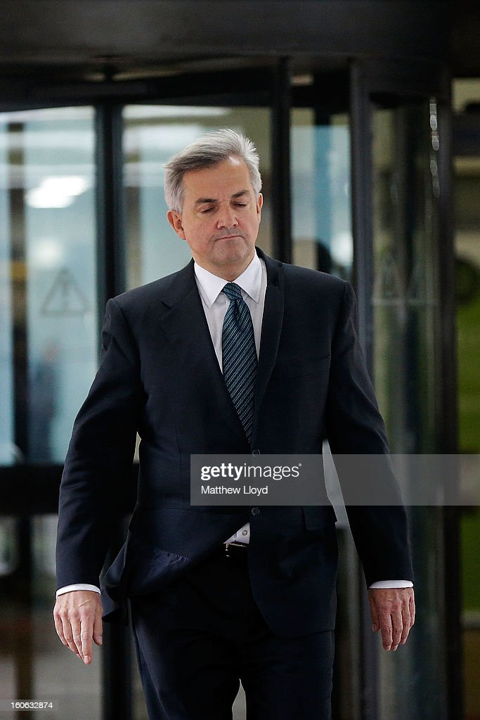 Former Cabinet Minister Chris Huhne leaves Southwark Crown Court to make a statement on February 4, 2013 in London, England. Huhne, 58, and his ex-wife Vicky Pryce are on trial over allegations that Pryce, 60, took penalty points on her driving licence in 2003 so that he could avoid prosecution. Chris Huhne pleaded guilty to perverting the course of justice.