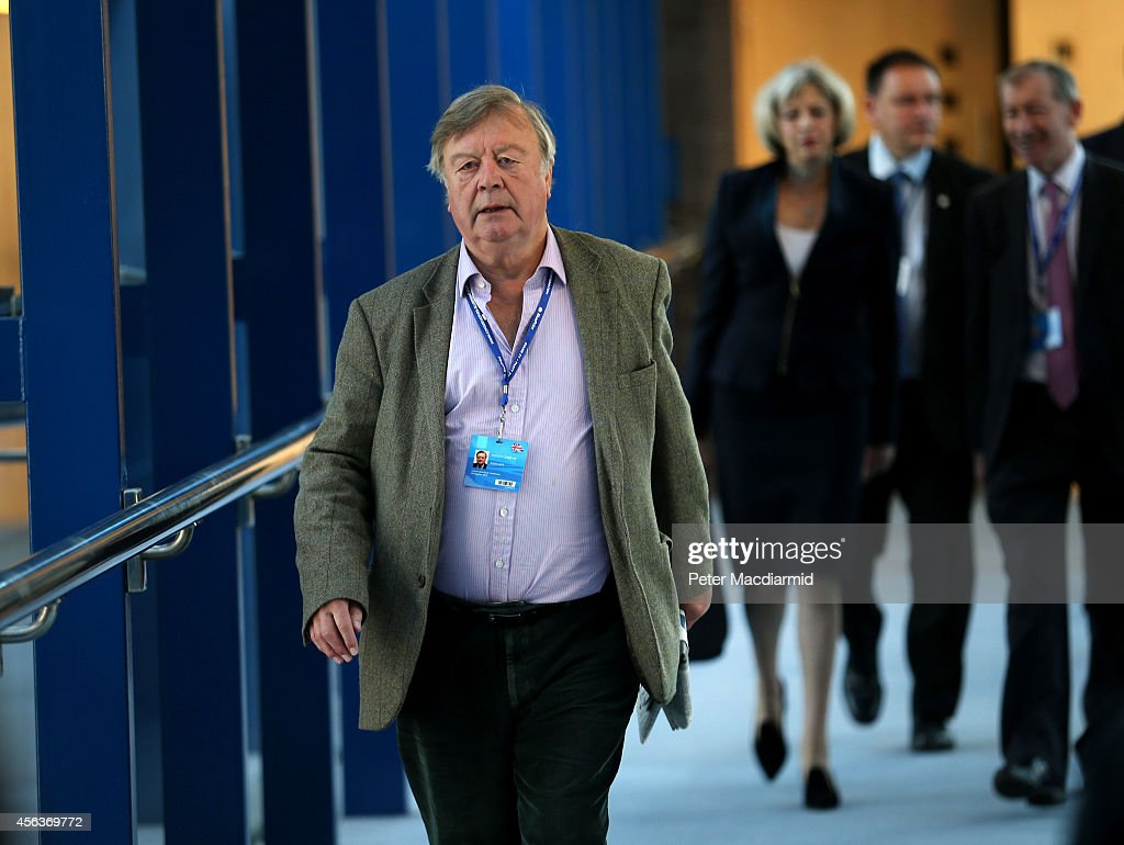 Former cabinet minister Ken Clarke walks to the Conservative party conference ahead of Home Secretary Theresa May on September 30 2014 in Birmingham...