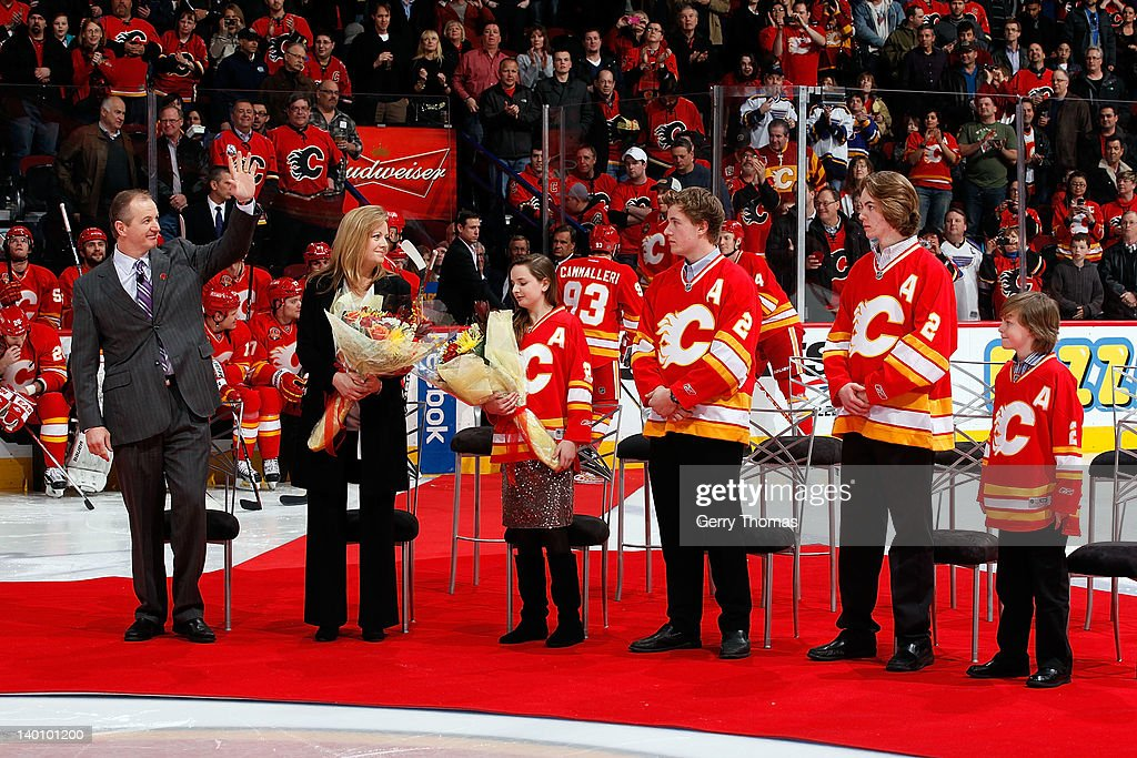 Former Calgary Flame Al MacInnis is honoured as the first inductee of the Forever a Flame program before the game between the Calgary Flames and the St. Louis Blues on February 27, 2012 at the Scotiabank Saddledome in Calgary, Alberta, Canada.