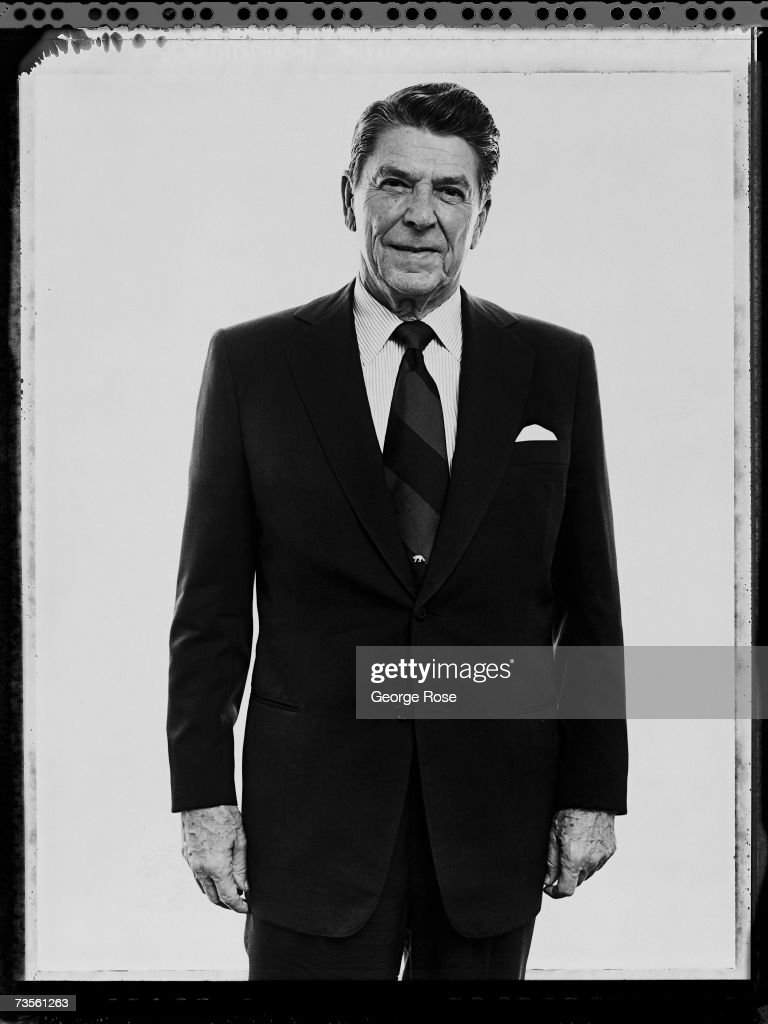 Former California Governor and future 40th President of the United States Ronald Wilson Reagan poses in his Los Angeles California offices during the...