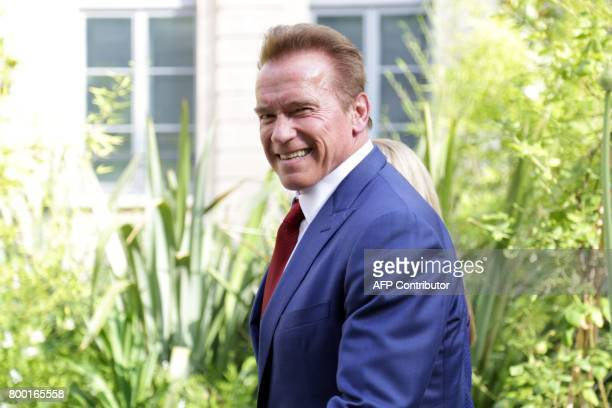 Former California governor Arnold Schwarzenegger founder of the R20 climate action group arrives for a meeting with French Minister of Ecological and...