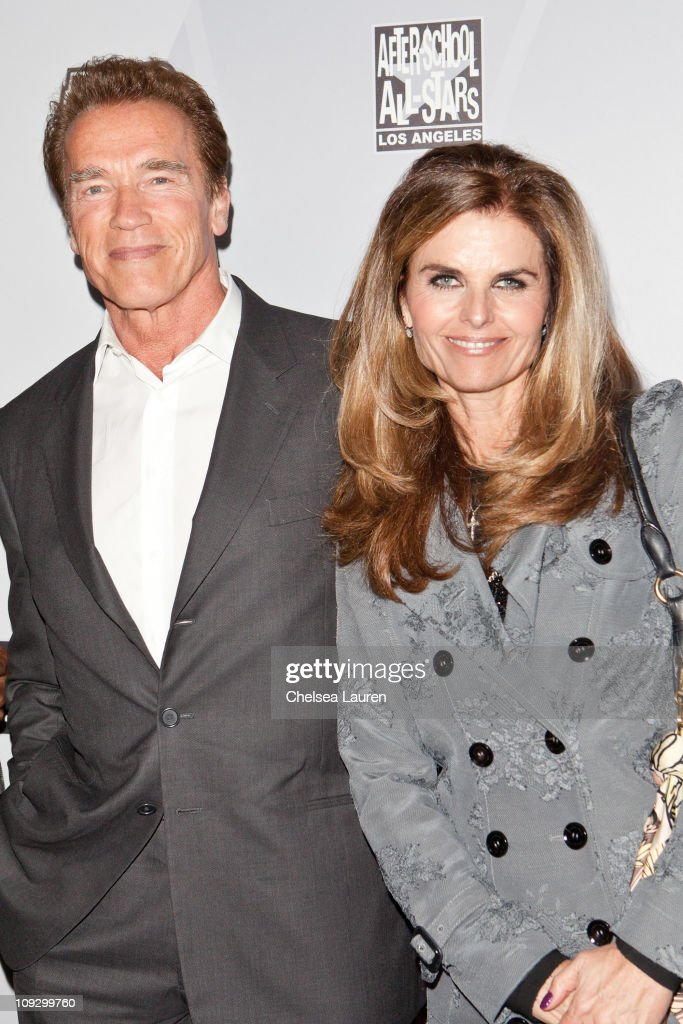 Former California Goveror Arnold Schwarzenegger and Maria Shriver arrive at AfterSchool AllStars Hoop Heroes Salute launch party at Katsuya on...