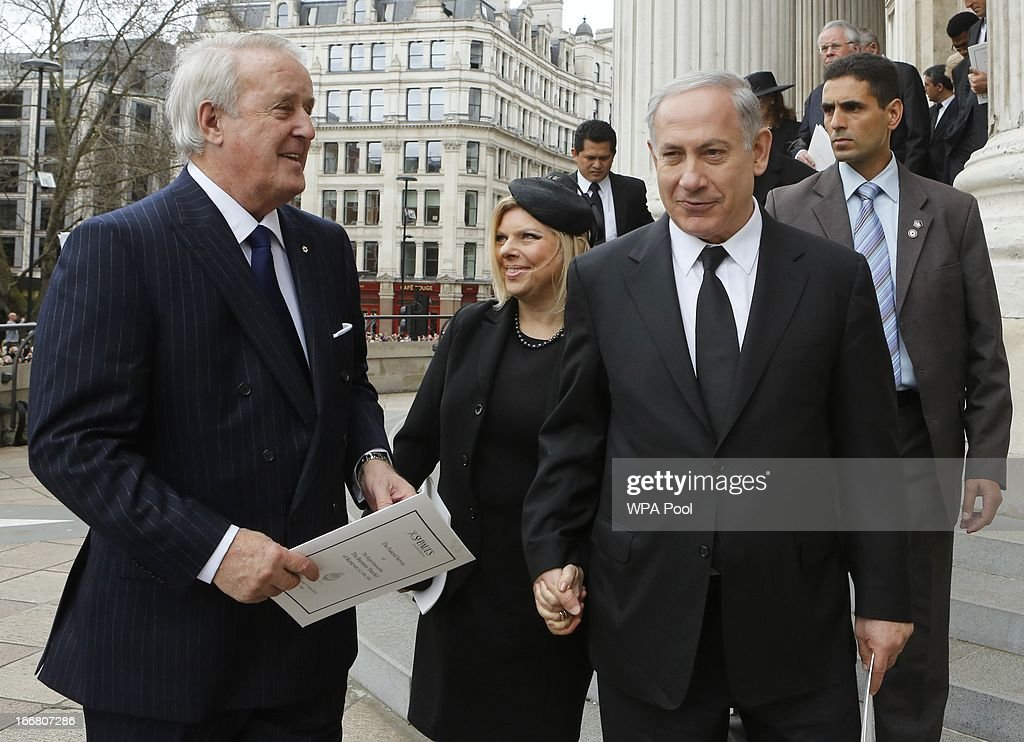 Former Canadian prime minister Brian Mulroney (L), and Israeli Prime Minister Binyamin Netanyahu leave after attending the funeral service of former British prime minister Margaret Thatcher at St Paul's Cathedral on April 17, 2013 in London, England. Dignitaries from around the world today join Queen Elizabeth II and Prince Philip, Duke of Edinburgh as the United Kingdom pays tribute to former Prime Minister Baroness Thatcher during a Ceremonial funeral with military honours at St Paul's Cathedral. Lady Thatcher, who died last week, was the first British female Prime Minister and served from 1979 to 1990.
