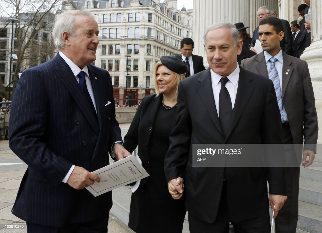 Former Canadian prime minister Brian Mulroney (L), Israeli Prime Minister Binyamin Netanyahu (R) and his wife Sara, leave St Paul's Cathedral following the ceremonial funeral of British former prime minister Margaret Thatcher in central London on April 17, 2013. The funeral of Margaret Thatcher took place on April 17, with Queen Elizabeth II leading mourners from around the world in bidding farewell to one of Britain's most influential and divisive prime ministers.