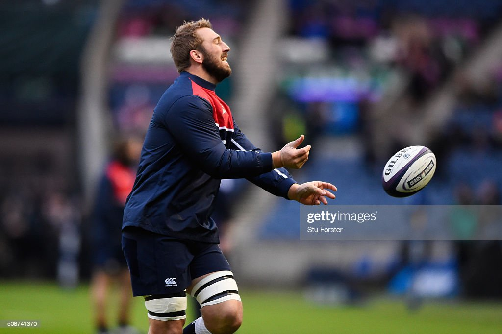 Former captain Chris Robshaw of England warms up prior to kickoff during the RBS Six Nations match between Scotland and England at Murrayfield Stadium on February 6, 2016 in Edinburgh, Scotland.