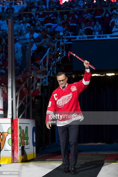 Former captain of the Detroit Red Wing Steve Yzerman walks out for post game ceremonies after the final home game ever played at Joe Louis Arena...