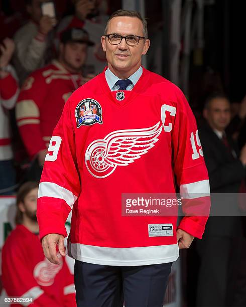Former Captain Steve Yzerman of the Detroit Red Wings 1997 Stanley Cup Team walks out for the Twenty Year Anniversary celebration night pregame...