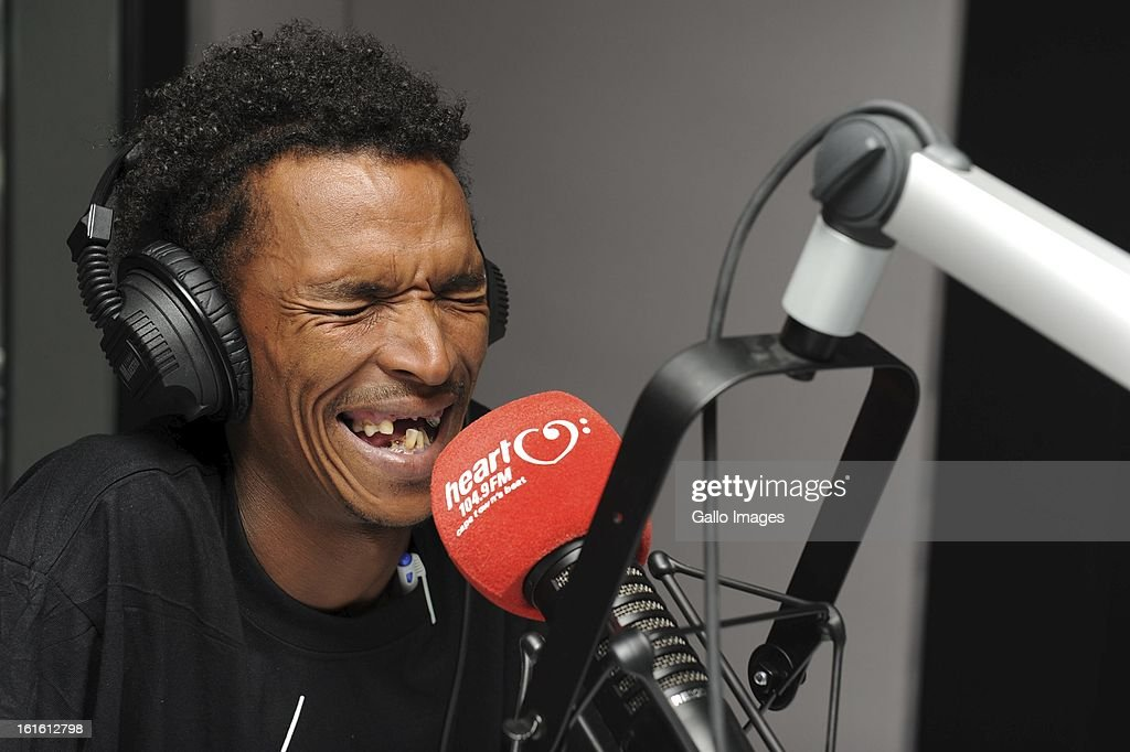Former car guard, Alen Abrahams in the Heart 104.9 FM studio on February 8, 2013, in Cape Town, South Africa. Abrahams was discovered after he posted YouTube video's in which he sings current pop music, using his own, Afrikaans lyrics. His 'Cape Flats Pop' music has become an overnight sensation.