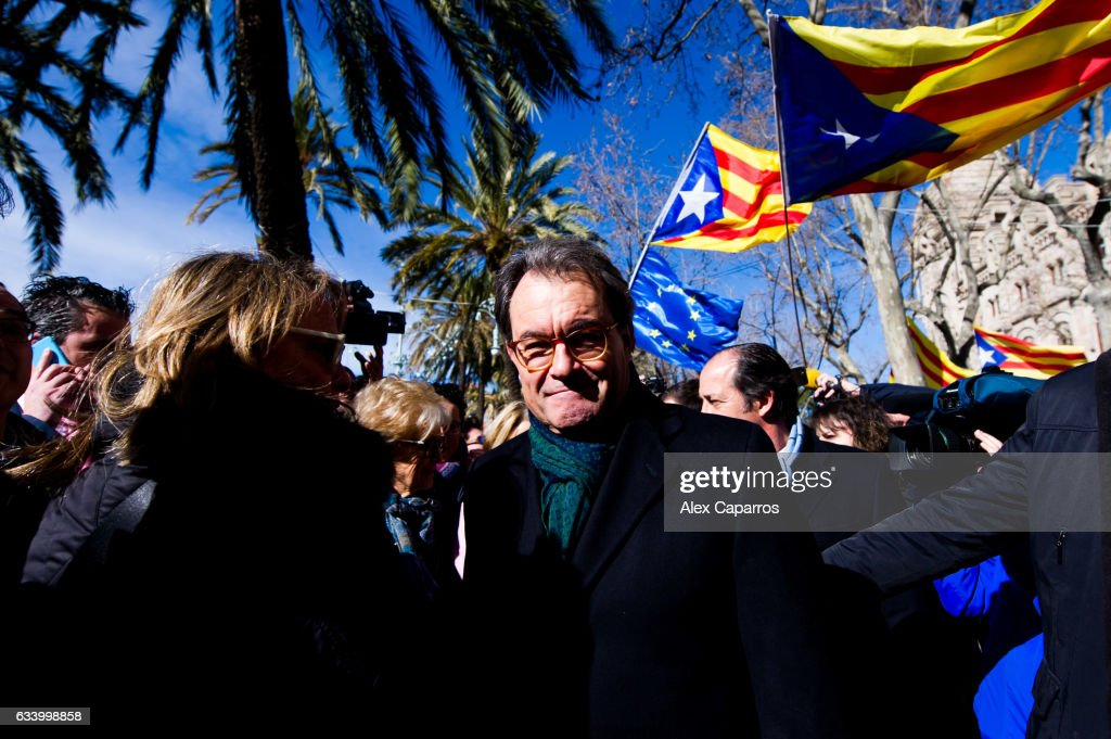 Former Catalan President Artur Mas leaves the Catalonia's Superior Court of Justice (TSJC) after a hearing about the independence of Catalonia referendum staged in 2014 despite a ban from the Spain's Constitutional Court on February 6, 2017 in Barcelona, Spain. Former Catalan President Artur Mas, former Vice-president Joana Ortega and former Education Minister Irene Rigau face a 10-year ban on holding public office after being accused of disobeying Spain's Constitutional Court by staging a non-binding referendum on the independence of Catalonia in November 2014. 2.3 million people of a total of 6.3 million eligible voters in Catalonia took part in the referendum and over 80 percent of them cast their ballot in favour of independence.