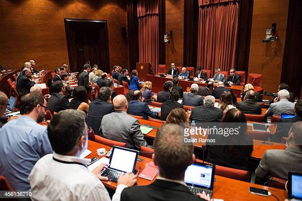 Former Catalan President Jordi Pujol faces the members of the parliament on September 26 2014 in Barcelona Spain Jori Pujol run the Government of...