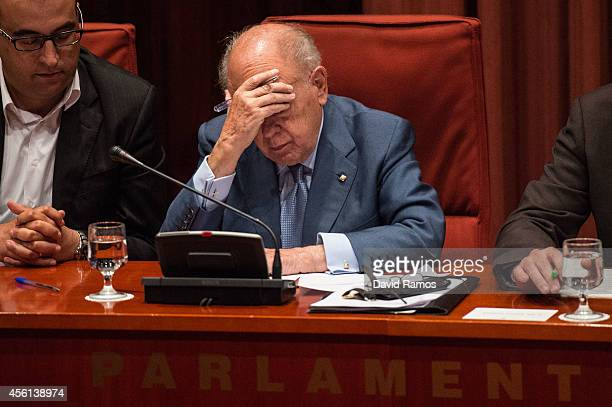 Former Catalan President Jordi Pujol reacts as he faces the members of the parliament on September 26 2014 in Barcelona Spain Jori Pujol run the...