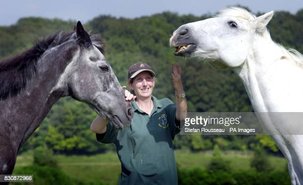 Former Cavalry horses Echo and Yetti with their groom Christine Stroud are the centre of attention at a ceremony to mark the 20th anniversary of the...