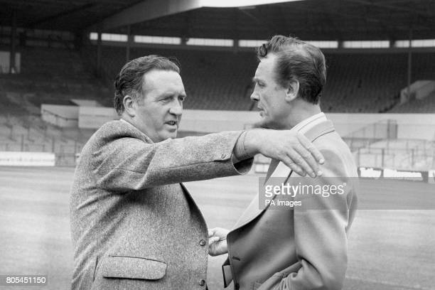 Former Celtic Manager Jock Stein gets together with Leeds United caretaker Manager Maurice Lindlay on the pitch at Elland Road Jock Stein takes over...